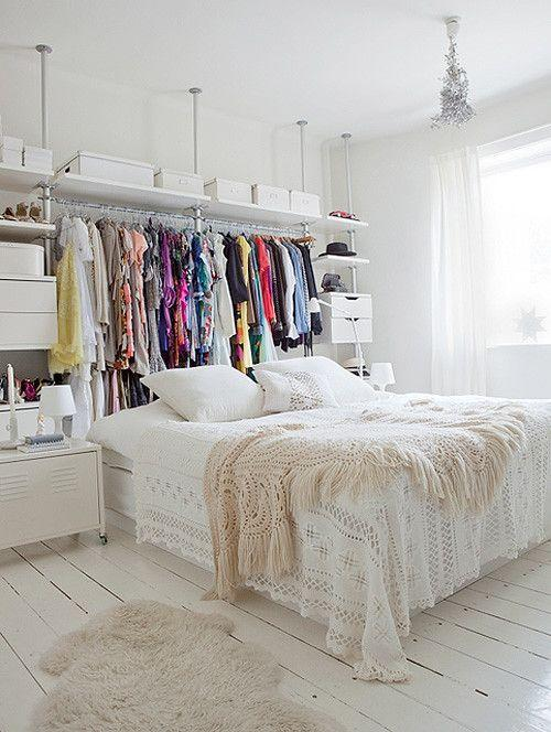 "<p>Don't have a proper closet? That's okay! Install an organizational system along a free wall and hide it with a curtain or allow it to function as a makeshift headboard like Siw Haveland of <a href=""http://design-shimmer.blogspot.com/"" rel=""nofollow noopener"" target=""_blank"" data-ylk=""slk:Design Shimmer"" class=""link rapid-noclick-resp"">Design Shimmer</a>. </p><p>See more at <a href=""https://www.decor8blog.com/blog/2010/11/25/beautiful-norwegian-home"" rel=""nofollow noopener"" target=""_blank"" data-ylk=""slk:decor8"" class=""link rapid-noclick-resp"">decor8</a>. </p><p><a class=""link rapid-noclick-resp"" href=""https://www.amazon.com/Rubbermaid-Configurations-Organizer-Titanium-FG3H8900TITNM/dp/B0009WG328/ref=sr_1_1_sspa?tag=syn-yahoo-20&ascsubtag=%5Bartid%7C10072.g.29994972%5Bsrc%7Cyahoo-us"" rel=""nofollow noopener"" target=""_blank"" data-ylk=""slk:SHOP CLOSET SYSTEMS"">SHOP CLOSET SYSTEMS</a></p>"