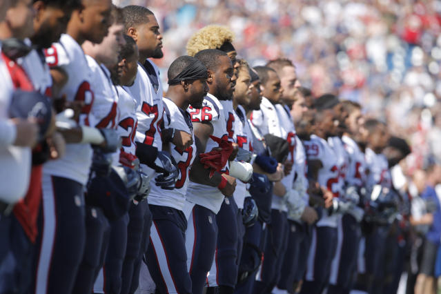<p>The Houston Texans stand for the national anthem before the start of the game against the New England Patriots at Gillette Stadium. Mandatory Credit: David Butler II-USA TODAY Sports </p>