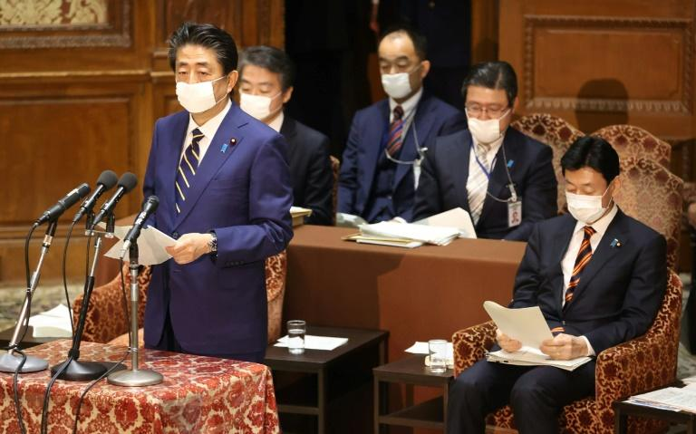 Japan's Prime Minister Shinzo Abe declared a state of emergency over the coronavirus crisis (AFP Photo/STR)
