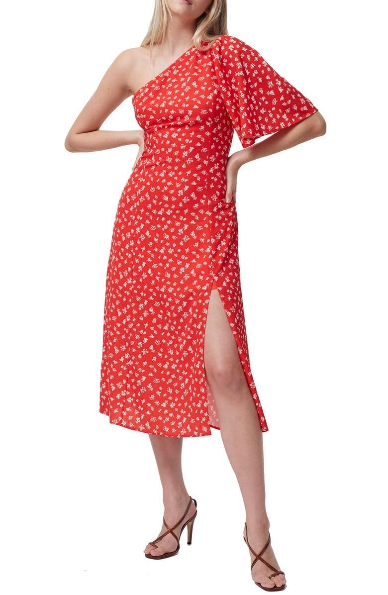 <p>How fun is this <span>Fayloa Floral Print One-Shoulder Midi Dress</span> ($148)?</p>