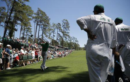 Jordan Spieth of the U.S. hits a driver off the 14th tee during Tuesday practice rounds for the 2017 Masters at Augusta National Golf Club in Augusta, Georgia, U.S., April 4, 2017. REUTERS/Mike Segar