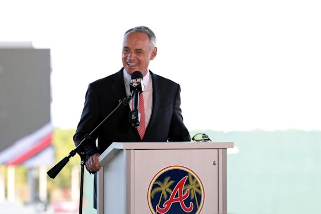 One expert says the March agreement between MLB and its players appears to give commissioner Rob Manfred broad latitude to decide whether to restart the 2020 season. (Photo by Mary DeCicco/MLB Photos via Getty Images)