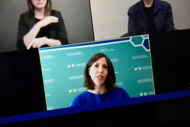 No one can deny that Dr. Vera Etches, seen on a screen as she participated in one of dozens of news conferences in 2020, worked punishing hours in 2020. But that's not why she got a big pay bump last year.  (Justin Tang/Canadian Press - image credit)