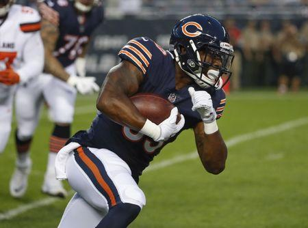 Aug 31, 2017; Chicago, IL, USA; Chicago Bears running back Jeremy Langford (33) runs with the ball during the first half of a game against the Cleveland Browns at Soldier Field. Mandatory Credit: Kamil Krzaczynski-USA TODAY Sports