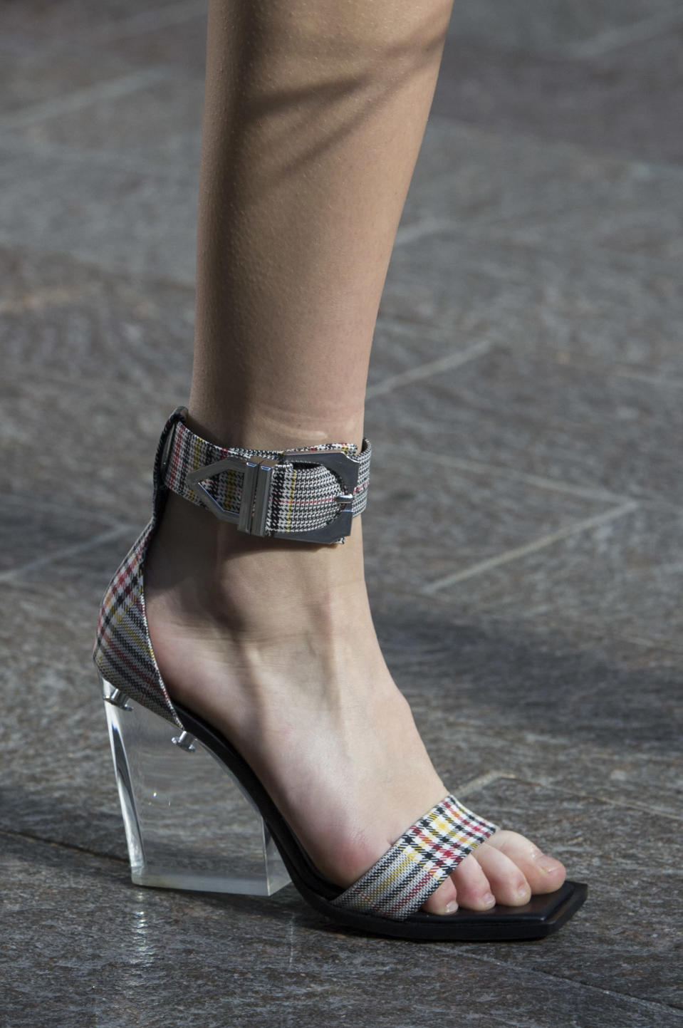 <p><i>Plaid ankle-strap heels from the SS18 Versus Versace collection. (Photo: ImaxTree) </i></p>
