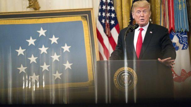 PHOTO: President Donald Trump speaks during the Congressional Medal of Honor Society reception in the East Room of the White House in Washington, D.C., U.S., Sept. 12, 2018. (Andrew Harrer/Bloomberg via Getty Images)