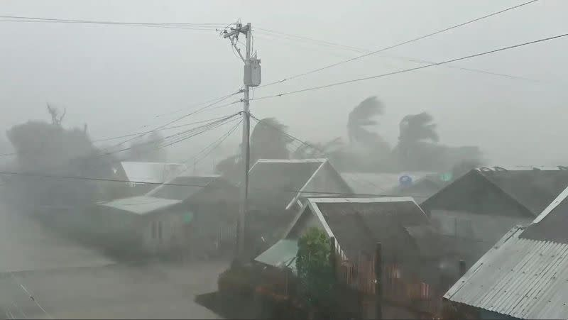 Trees sway near buildings as Typhoon Kammuri, known locally as Typhoon Tisoy, makes landfall in Gamay