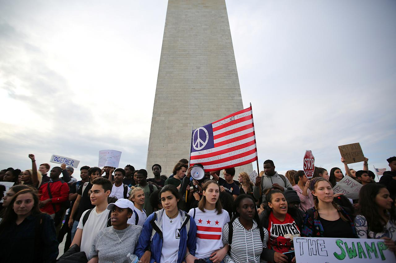 <p>Students attend a protest against President-elect Donald Trump at the National Mall in Washington on Nov. 15, 2016. (Carlos Barria/Reuters) </p>
