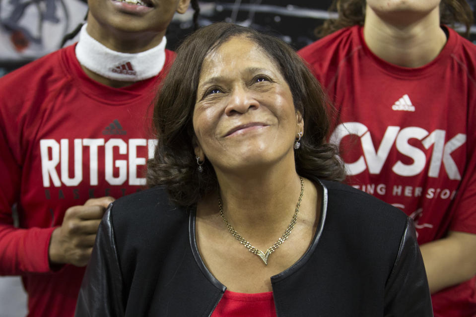 Rutgers head coach C. Vivian Stringer was forced to take a leave of absence in spring 2019. She returned later that year and got the school off to its best start since 2005. (Photo by Mitchell Leff/Getty Images)