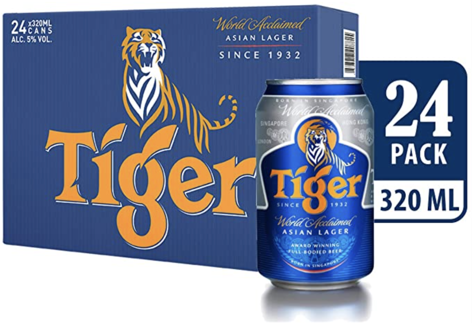 Tiger Lager Beer Can Carton, 320ml (Pack of 24). (PHOTO: Amazon)