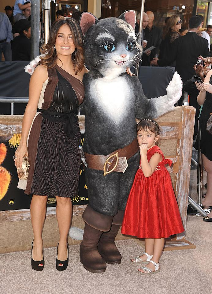 """<a href=""""http://movies.yahoo.com/movie/contributor/1800018952"""">Salma Hayek</a> and daughter Valentina at the Los Angeles premiere of <a href=""""http://movies.yahoo.com/movie/1809796671/info"""">Puss in Boots</a> on October 23, 2011."""