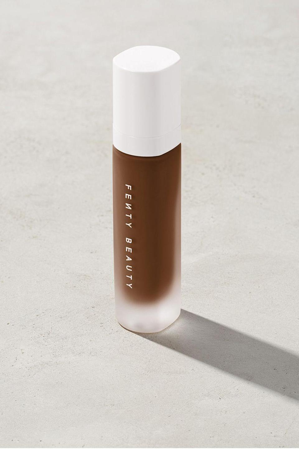 """<p><strong>Fenty Beauty</strong></p><p>fentybeauty.com</p><p><a href=""""https://go.redirectingat.com?id=74968X1596630&url=https%3A%2F%2Fwww.fentybeauty.com%2Fpro-filtr-soft-matte-longwear-foundation%2FFB30006.html&sref=https%3A%2F%2Fwww.cosmopolitan.com%2Fstyle-beauty%2Fbeauty%2Fg34399952%2Ffenty-beauty-sale-october-2020%2F"""" rel=""""nofollow noopener"""" target=""""_blank"""" data-ylk=""""slk:SHOP IT"""" class=""""link rapid-noclick-resp"""">SHOP IT </a></p><p><strong><del>$35</del> $23.62 (33% off)</strong></p><p>Behind every great makeup look (literally) is a reliable foundation. Not only does this bestseller have a silky smooth matte finish, it's also available in a range of shades.</p>"""