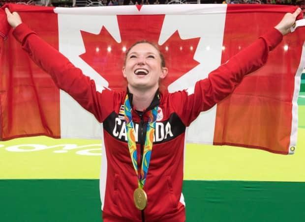 Rosie MacLennan from King City, Ont., seen above, became the first Canadian athlete to successfully defend an Olympic title at the summer Games in 2016 in Rio de Janeiro, Brazil. (The Canadian Press/Ryan Remiorz - image credit)