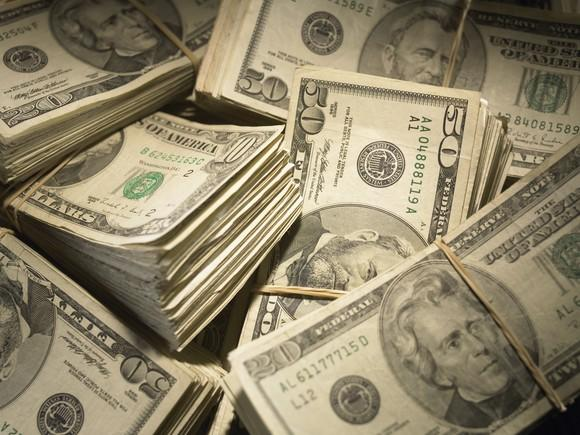 Wads of US paper currency