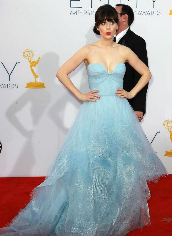 Zooey Deschanel Wows In Pale Blue Fairytale Gown But Suffers Booby Malfunction At Emmys 2012!