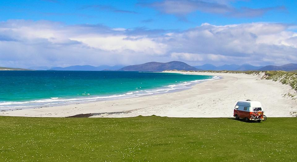 A white sand beach on the Isle of Berneray (Getty)