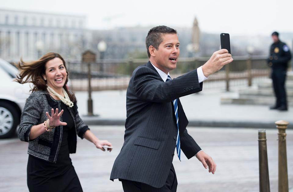 Rep. Sean Duffy (R-Wis.), shoots a video selfie as he heads to the House floor for votes on March 4, 2015.