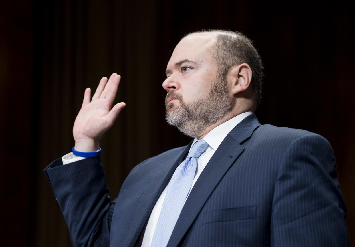 """<span class=""""s1"""">David Stras, President Trump's first appointment to the Eighth Circuit, is sworn in last November. (Photo: Bill Clark/CQ Roll Call via Getty Images)</span>"""