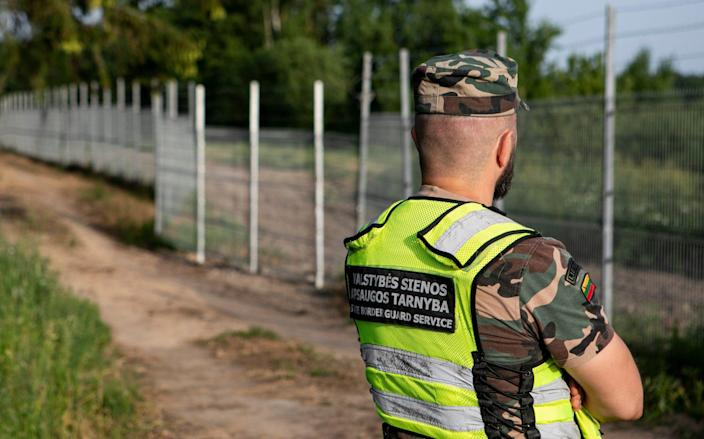 Lithuanian border guards have intercepted a wave of asylum seekers arriving from the Belarusian border - Getty