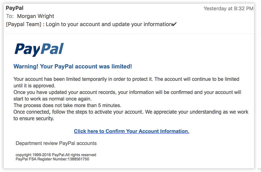 No, there's no problem with your account.