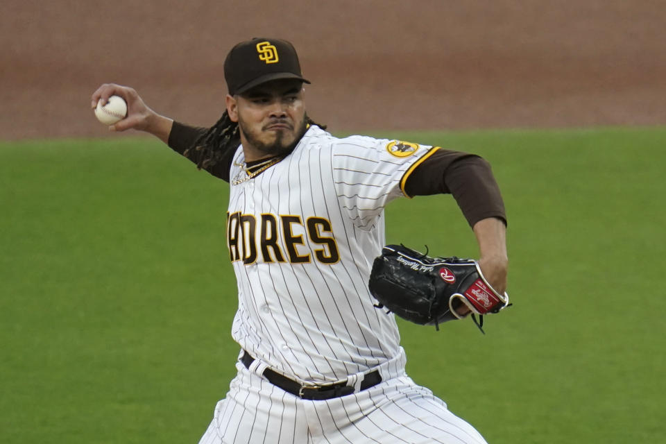 San Diego Padres starting pitcher Dinelson Lamet works against a Pittsburgh Pirates batter during the first inning of a baseball game Tuesday, May 4, 2021, in San Diego. (AP Photo/Gregory Bull)