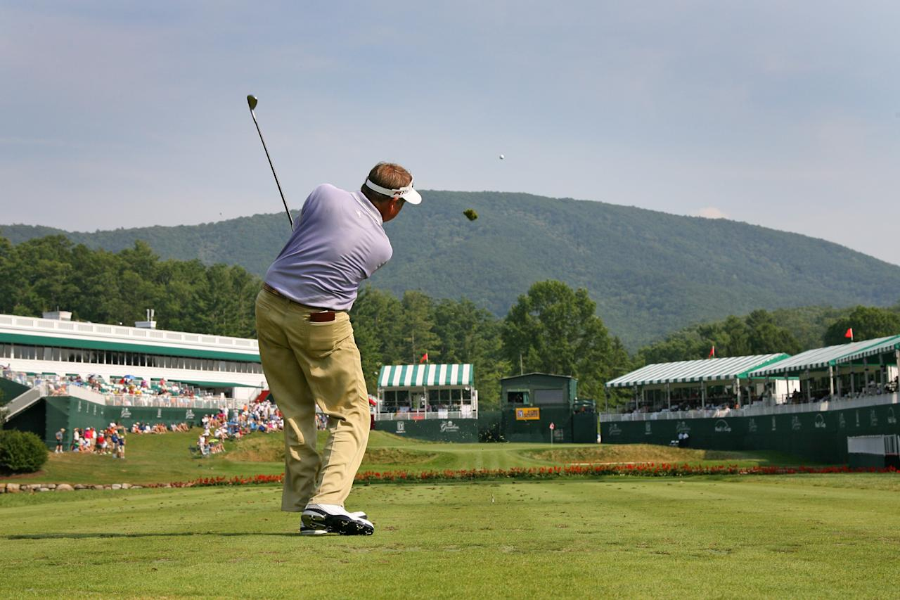 WHITE SULPHUR SPRINGS, WV - JULY 7: Ken Duke hits his tee shot on the hole during the third round of the Greenbrier Classic at the Old White 18th TPC on July 7, 2012 in White Sulphur Springs, West Virginia. (Photo by Hunter Martin/Getty Images)