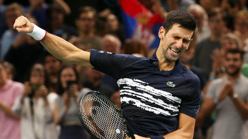 Novak Djokovic won the Paris Masters for a record fifth time. (Getty Images)