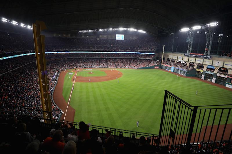 HOUSTON, TX - OCTOBER 28: A general view from the outfield during game four of the 2017 World Series between the Houston Astros and the Los Angeles Dodgers at Minute Maid Park on October 28, 2017 in Houston, Texas. (Photo by Christian Petersen/Getty Images)