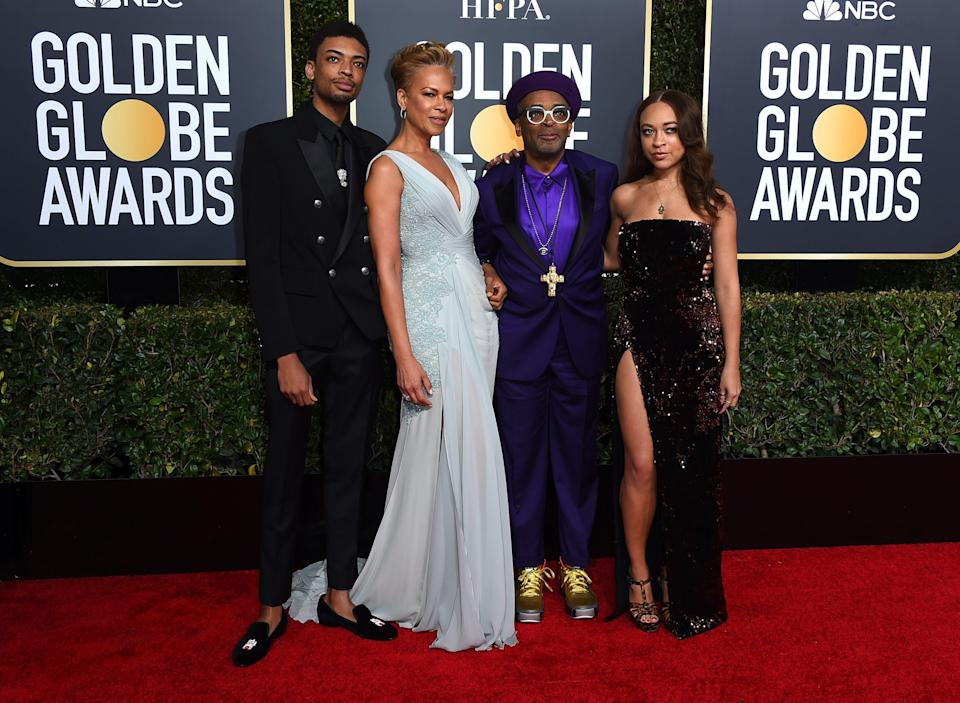 Spike Lee, second right, and his family, from left, son Jackson Lee, wife Tonya Lewis Lee and daughter Satchel Lee, right, arrive at the 76th annual Golden Globe Awards in Beverly Hills, Calif. on Jan. 6, 2019.