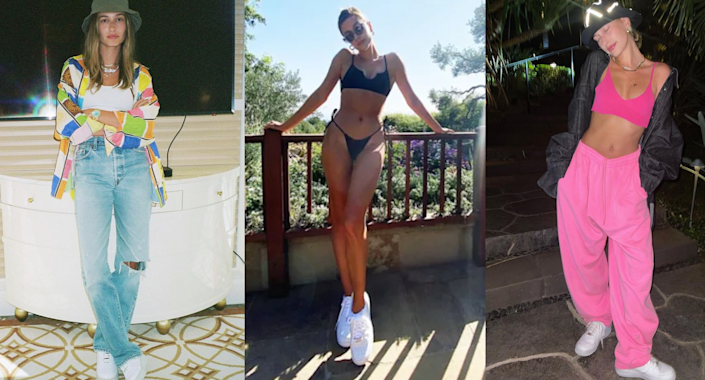 You'll often catch Hailey Bieber wearing her go-to Nike Air Force 1's. Images via Instagram/HaileyBieber.