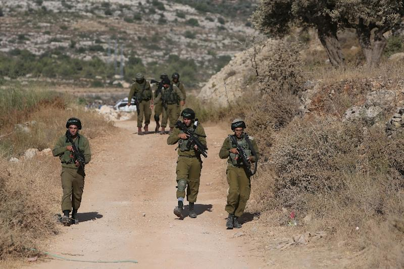 Israeli soldiers on patrol in the occupied West Bank