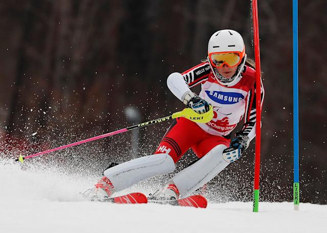 Alpine Skiing - Pyeongchang 2018 Winter Paralympics - Women's Slalom - Standing - Run 1 - Jeongseon Alpine Centre - Jeongseon, South Korea - March 18, 2018 - Mollie Jepsen of Canada. REUTERS/Paul Hanna