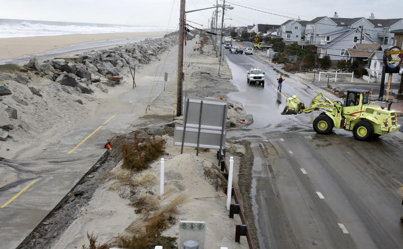 Storm causes flooding in Sandy-damaged shore towns