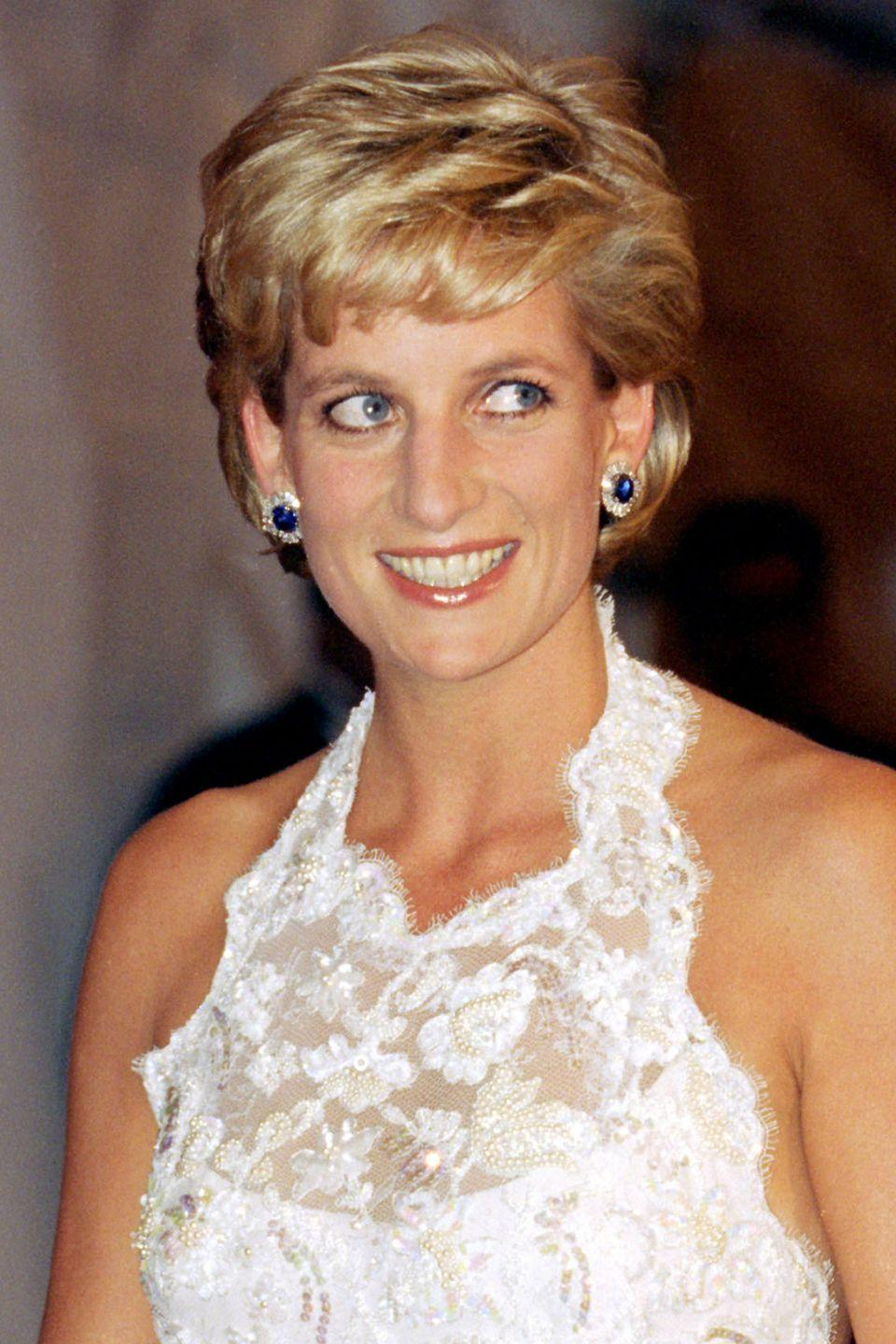 <p>With shorter, choppier bangs at a charity dinner while on a visit to Washington. </p>