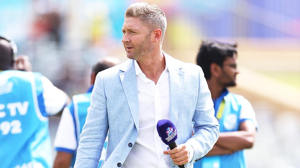 Michael Clarke (pictured) during commentary.