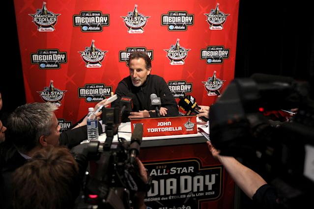OTTAWA, ON - JANUARY 27: Head coach John Tortorella of the New York Rangers speaks with the press during the 2012 NHL All-Star Game Player Media Availability at the Westin Ottawa on January 27, 2012 in Ottawa, Ontario, Canada. (Photo by Christian Petersen/Getty Images)
