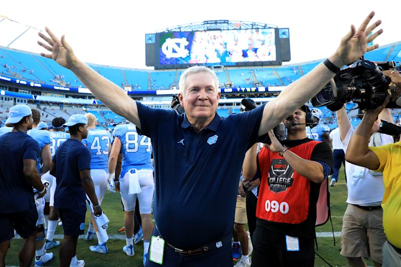 North Carolina coach Mack Brown reacts after defeating the South Carolina Gamecocks 24-20 on Aug. 31. (Getty)