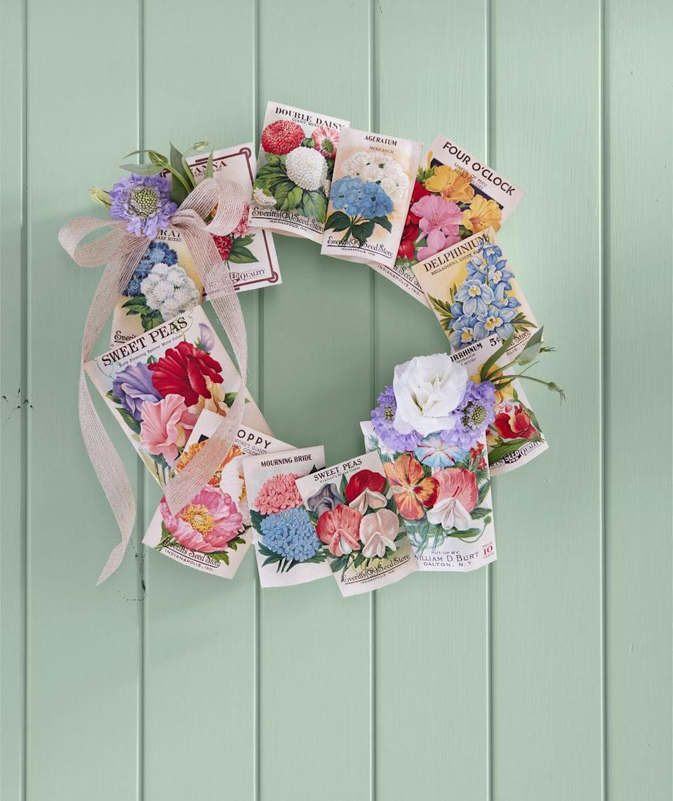 """<p>It's officially flower season, y'all. In honor of your soon-to-be prosperous spring garden, convert your leftover seed packets into hanging Easter decor. </p><p><a rel=""""nofollow noopener"""" href=""""https://www.amazon.com/Including-Varieties-Marigolds-Wildflower-Snapdragon/dp/B071JYYZGR/"""" target=""""_blank"""" data-ylk=""""slk:SHOP SEED PACKETS"""" class=""""link rapid-noclick-resp"""">SHOP SEED PACKETS</a></p>"""