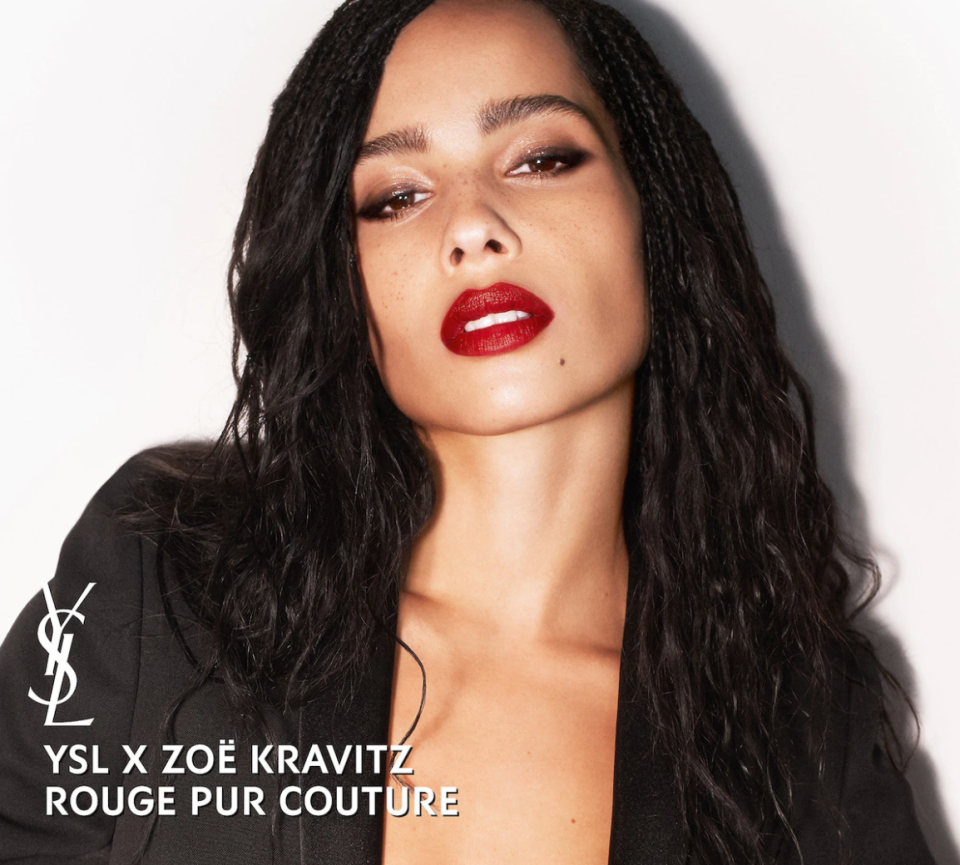 """Zoe Kravitz wearing YSL's """"Scout's Red"""" lipstick, an exclusive collaboration between the actress and the luxury fashion house (Sephora)"""