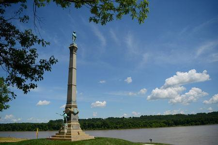A memorial to Confederate soldiers stands on the banks of the Ohio River in Brandenburg, Kentucky, U.S. May 29, 2017. The memorial was recently removed from the campus of the University of Louisville. REUTERS/Bryan Woolston