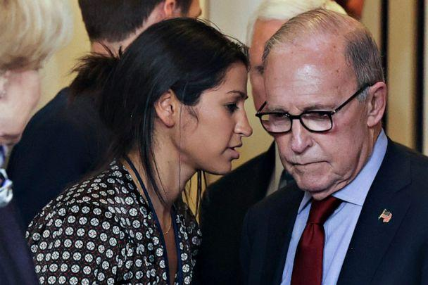 PHOTO: Katie Miller, press secretary for Vice President Mike Pence, speaks to White House chief economic adviser Larry Kudlow before the daily coronavirus task force briefing at the White House, in Washington, March 10, 2020. (Jonathan Ernst/Reuters)