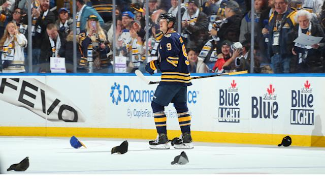 Buffalo Sabres centre Jack Eichel was a one-man show against the Ottawa Senators. (Sara Schmidle/NHLI via Getty Images)