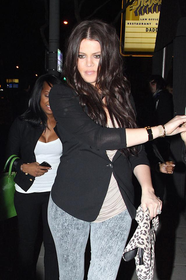 "Khloe Kardashian sports an unfortunate pair of stonewash jeggings en route to Voyeur nightclub in West Hollywood. David Tonnessen/<a href=""http://www.pacificcoastnews.com/"" target=""new"">PacificCoastNews.com</a> - February 18, 2010"