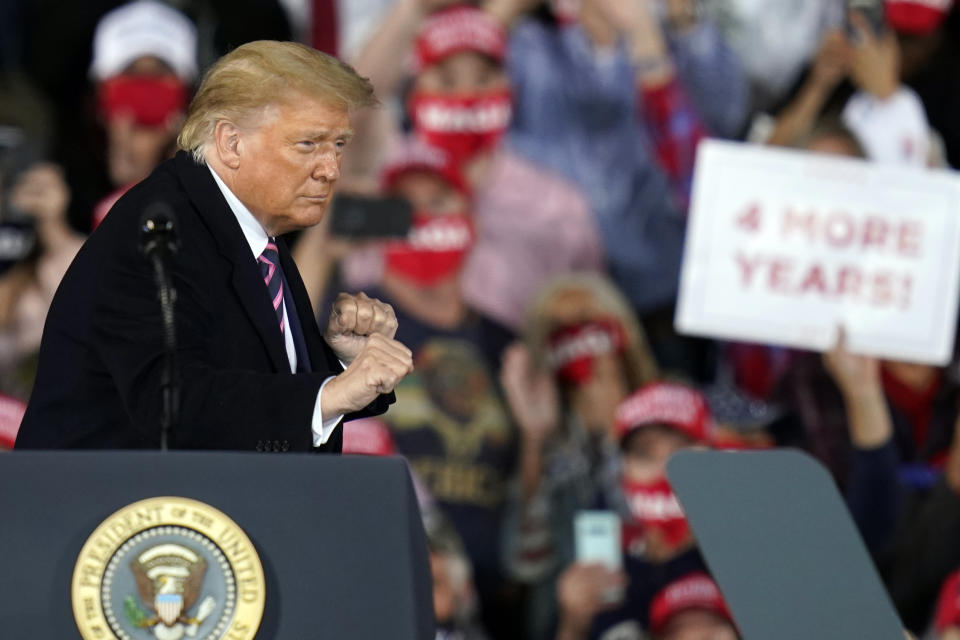 President Donald Trump reacts after a campaign rally, Tuesday, Sept. 22, 2020, in Moon Township, Pa. (Keith Srakocic/AP)