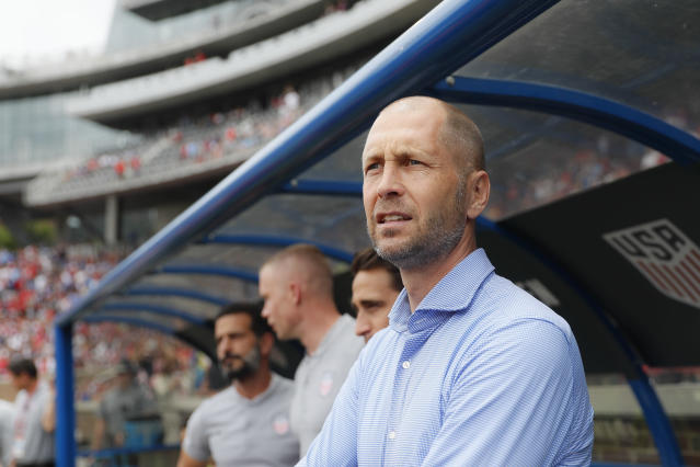 United States head coach Gregg Berhalter stands on the sideline before an international friendly soccer match against Venezuela, Sunday, June 9, 2019, in Cincinnati. (AP Photo/John Minchillo)