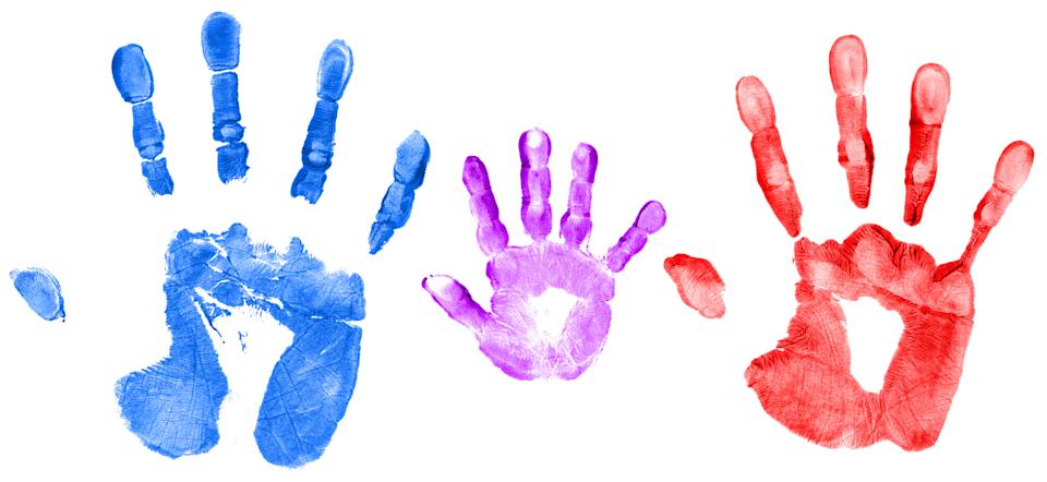 """""""Mommy, Daddy and child hand prints, isolated on white background.Similar images -"""""""