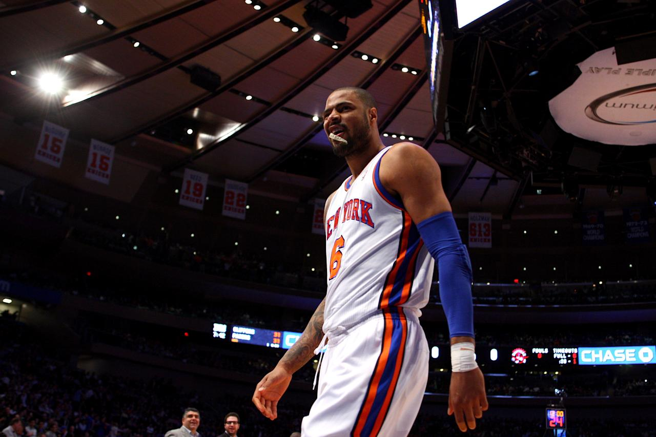 NEW YORK, NY - MARCH 20:  Tyson Chandler #6 of the New York Knicks looks on against the Toronto Raptors at Madison Square Garden on March 20, 2012 in New York City.  NOTE TO USER: User expressly acknowledges and agrees that, by downloading and or using this photograph, User is consenting to the terms and conditions of the Getty Images License Agreement.  (Photo by Chris Chambers/Getty Images)