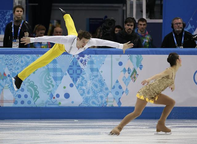 Stefania Berton and Ondrej Hotarek of Italy compete in the team pairs short program figure skating competition at the Iceberg Skating Palace during the 2014 Winter Olympics, Thursday, Feb. 6, 2014, in Sochi, Russia