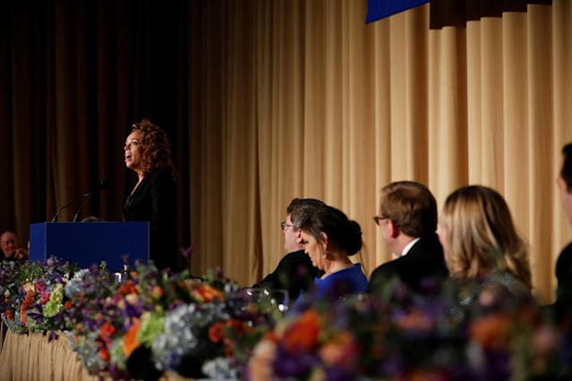 Comedian Michelle Wolf performs at the White House Correspondents' Association dinner on April 28. (Photo: Aaron P. Bernstein/Reuters)