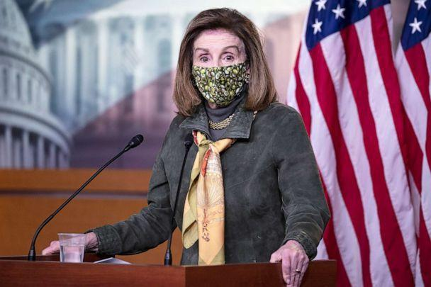 PHOTO: Speaker of the House Rep. Nancy Pelosi responds to questions on the creation of a commission to investigate the January 6 attack on the Capitol, during a news conference in Washington, Feb. 19, 2021. (Tasos Katopodis/Getty Images)